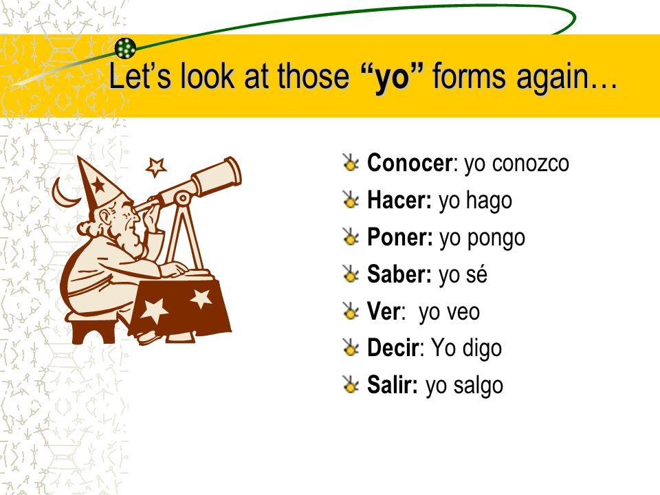 Lets look at those yo forms again… Conocer : yo conozco Hacer: yo hago Poner: yo pongo Saber: yo sé Ver : yo veo Decir : Yo digo Salir: yo salgo
