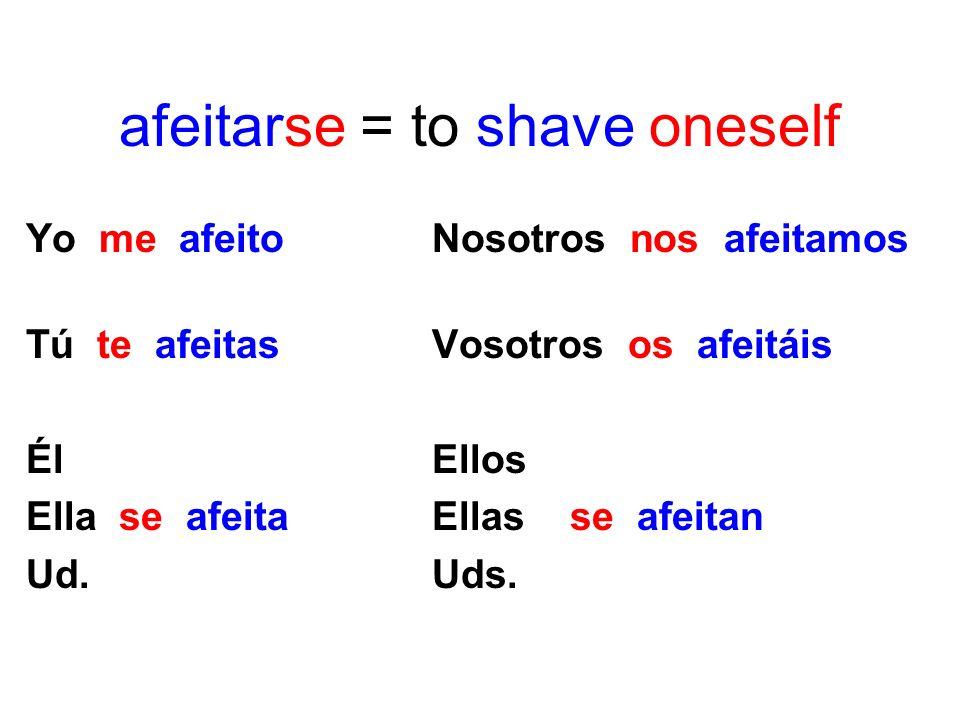 afeitar = to shave Yo afeito Nosotros afeitamos Tú afeitas Vosotros afeitáis Él Ellos Ella afeita Ellas afeitan Ud. Uds.