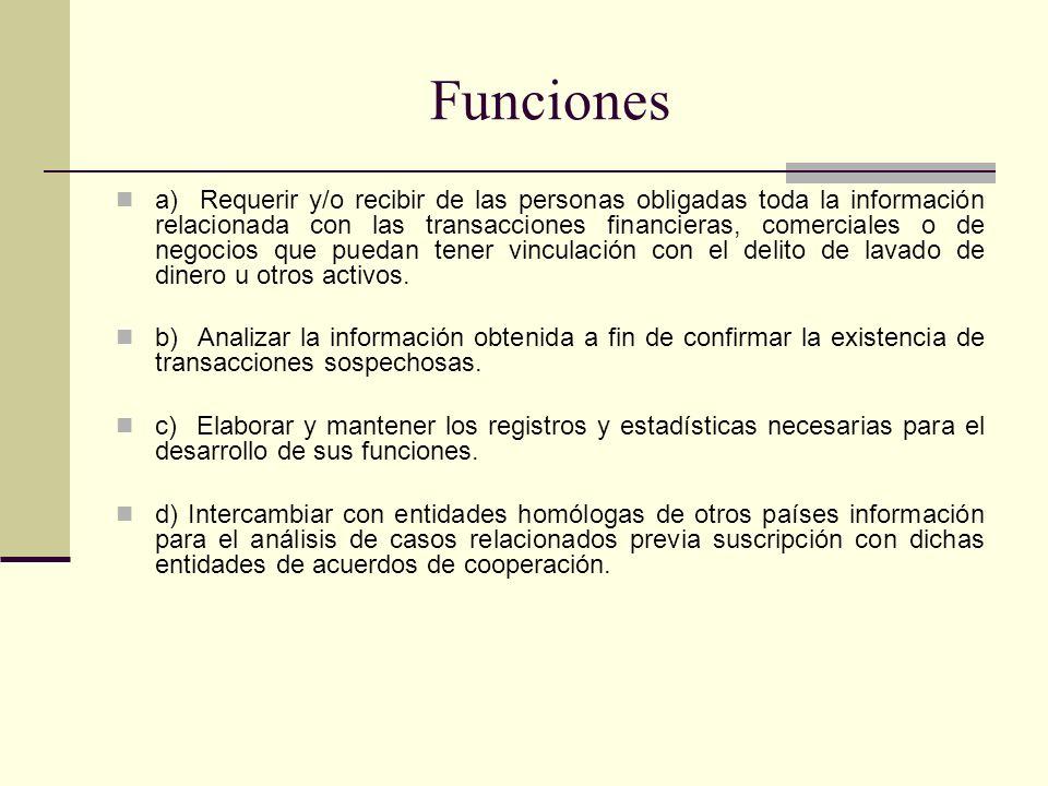Funciones a) Requerir y/o recibir de las personas obligadas toda la información relacionada con las transacciones financieras, comerciales o de negoci