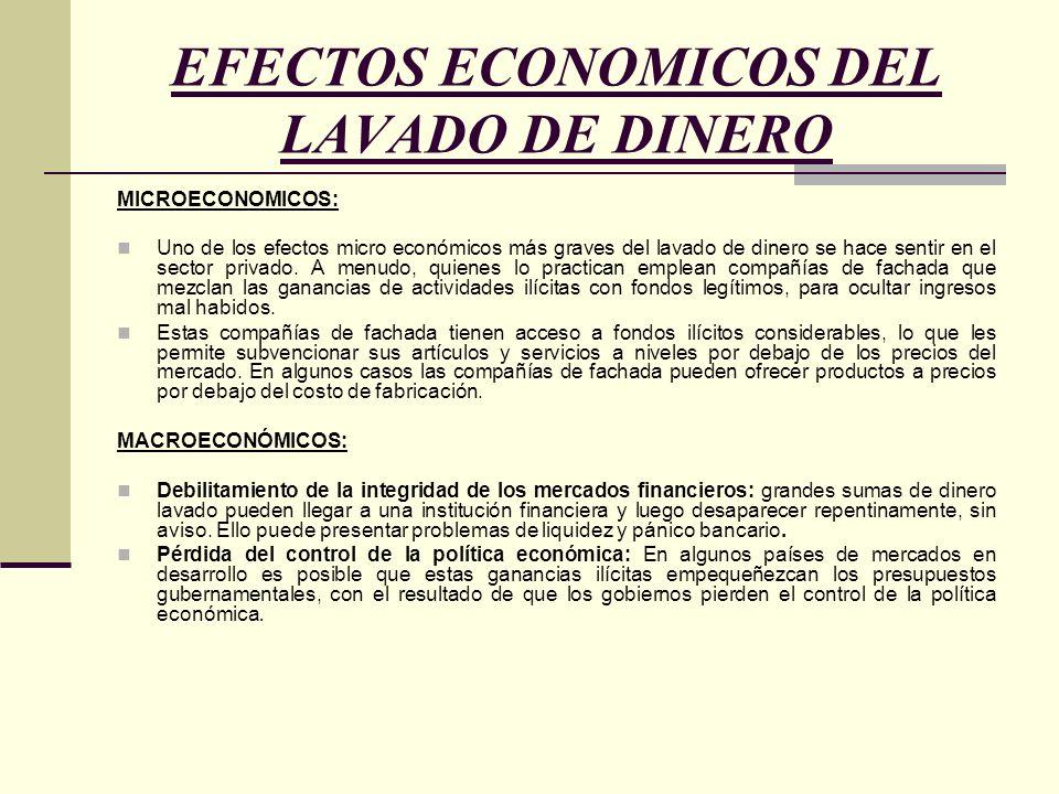 EFECTOS ECONOMICOS DEL LAVADO DE DINERO MICROECONOMICOS: Uno de los efectos micro económicos más graves del lavado de dinero se hace sentir en el sect