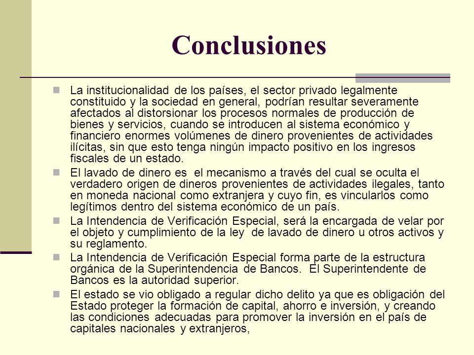 Conclusiones La institucionalidad de los países, el sector privado legalmente constituido y la sociedad en general, podrían resultar severamente afect