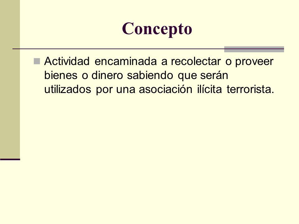 Concepto Actividad encaminada a recolectar o proveer bienes o dinero sabiendo que serán utilizados por una asociación ilícita terrorista.
