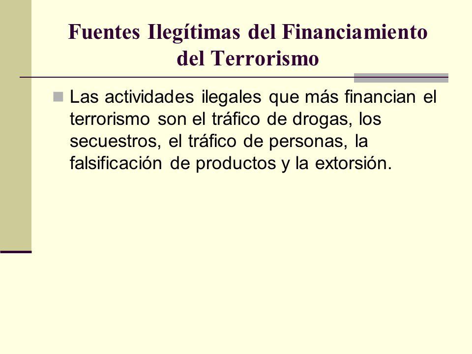 Fuentes Ilegítimas del Financiamiento del Terrorismo Las actividades ilegales que más financian el terrorismo son el tráfico de drogas, los secuestros