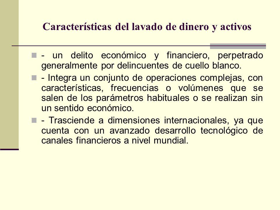 Características del lavado de dinero y activos - un delito económico y financiero, perpetrado generalmente por delincuentes de cuello blanco. - Integr