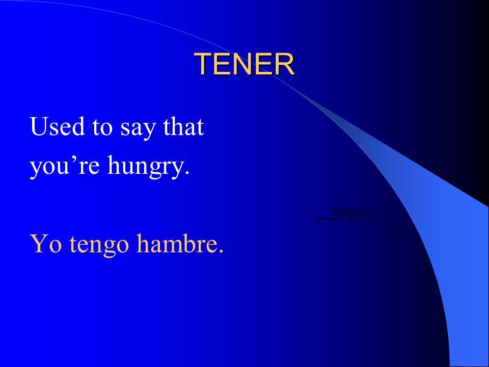 TENER Used to say that youre sleepy. Yo tengo sue ñ o.