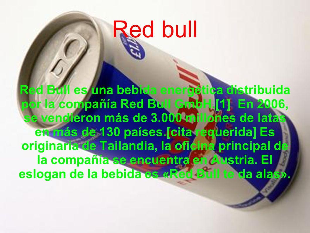 Red Bull es una bebida energética distribuida por la compañía Red Bull GmbH.[1] En 2006, se vendieron más de 3.000 millones de latas en más de 130 paí