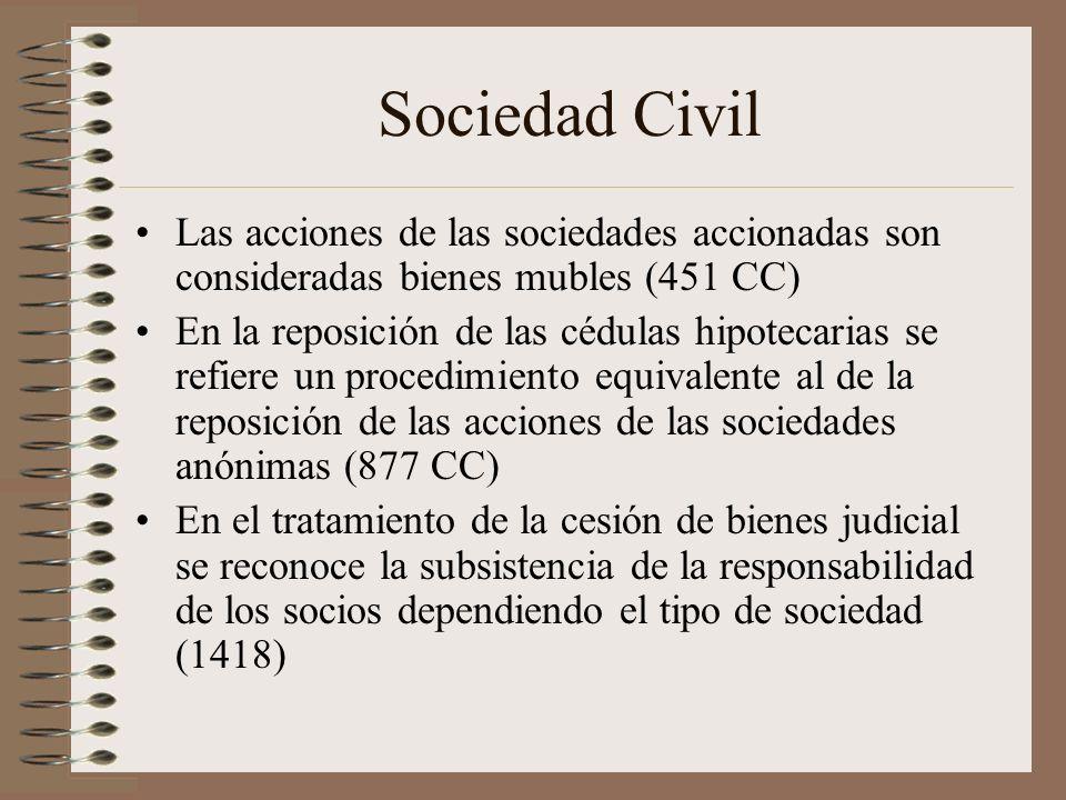 Sociedad Civil Las acciones de las sociedades accionadas son consideradas bienes mubles (451 CC) En la reposición de las cédulas hipotecarias se refie