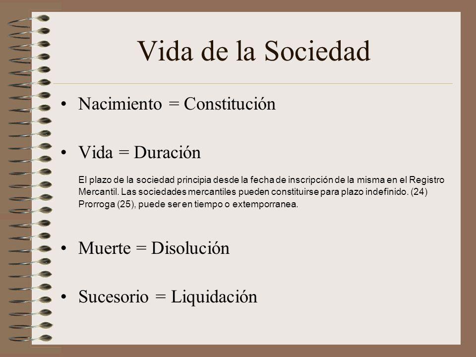 Vida de la Sociedad Nacimiento = Constitución Vida = Duración El plazo de la sociedad principia desde la fecha de inscripción de la misma en el Regist