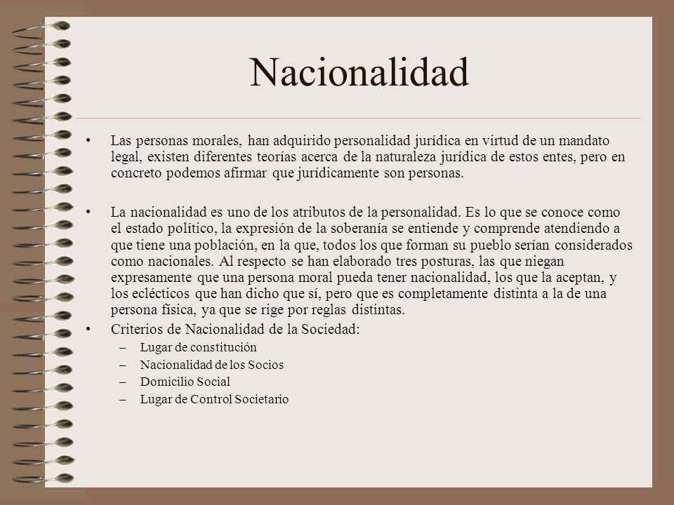 Nacionalidad Las personas morales, han adquirido personalidad jurídica en virtud de un mandato legal, existen diferentes teorías acerca de la naturale