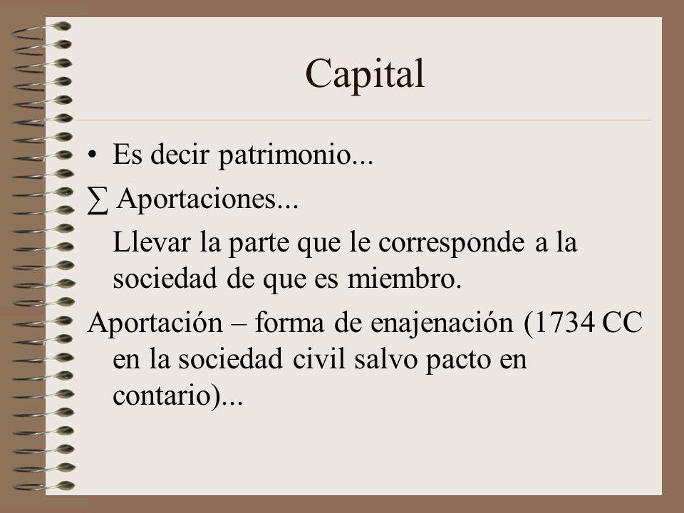 Capital Es decir patrimonio... Aportaciones... Llevar la parte que le corresponde a la sociedad de que es miembro. Aportación – forma de enajenación (