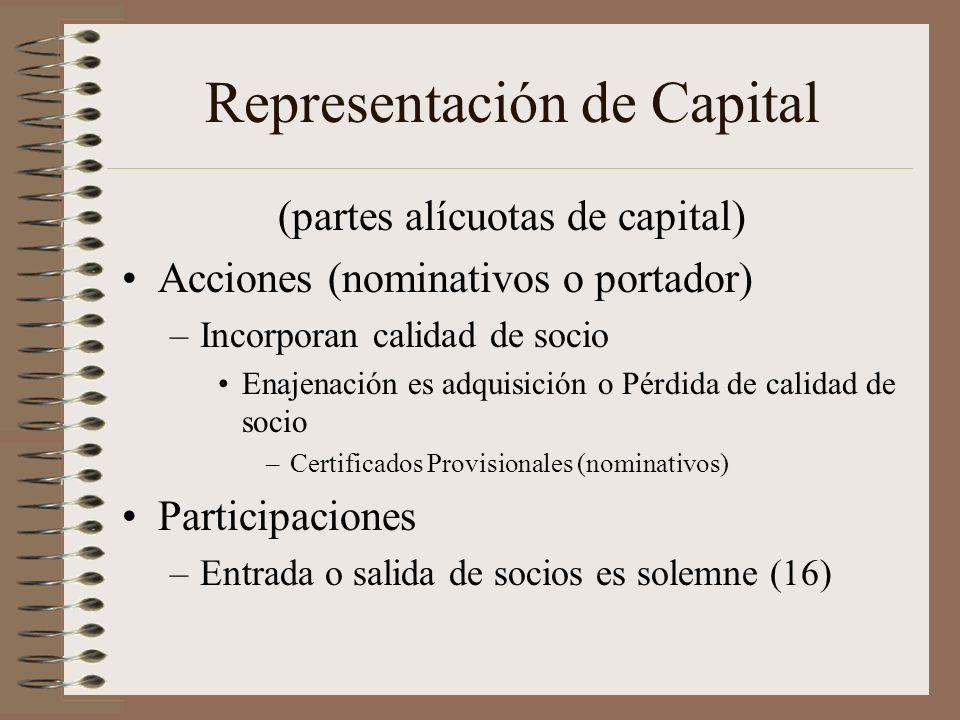 Representación de Capital (partes alícuotas de capital) Acciones (nominativos o portador) –Incorporan calidad de socio Enajenación es adquisición o Pé
