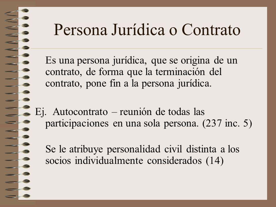 Persona Jurídica o Contrato Es una persona jurídica, que se origina de un contrato, de forma que la terminación del contrato, pone fin a la persona ju