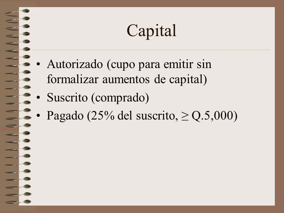 Capital Autorizado (cupo para emitir sin formalizar aumentos de capital) Suscrito (comprado) Pagado (25% del suscrito, Q.5,000)