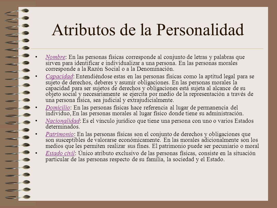 Atributos de la Personalidad Nombre: En las personas físicas corresponde al conjunto de letras y palabras que sirven para identificar e individualizar