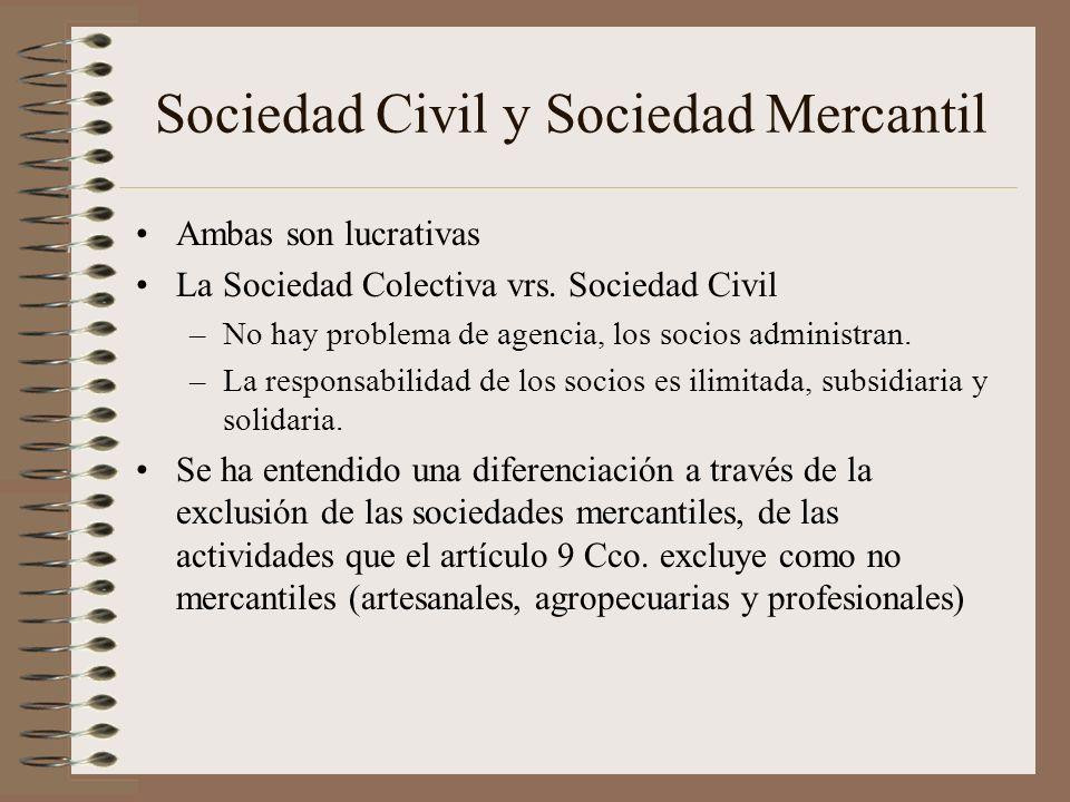 Sociedad Civil y Sociedad Mercantil Ambas son lucrativas La Sociedad Colectiva vrs. Sociedad Civil –No hay problema de agencia, los socios administran