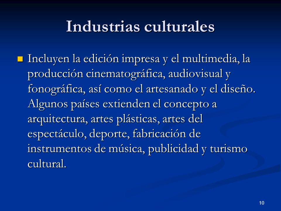 10 Industrias culturales Incluyen la edición impresa y el multimedia, la producción cinematográfica, audiovisual y fonográfica, así como el artesanado