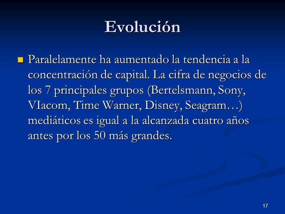 17 Evolución Paralelamente ha aumentado la tendencia a la concentración de capital. La cifra de negocios de los 7 principales grupos (Bertelsmann, Son