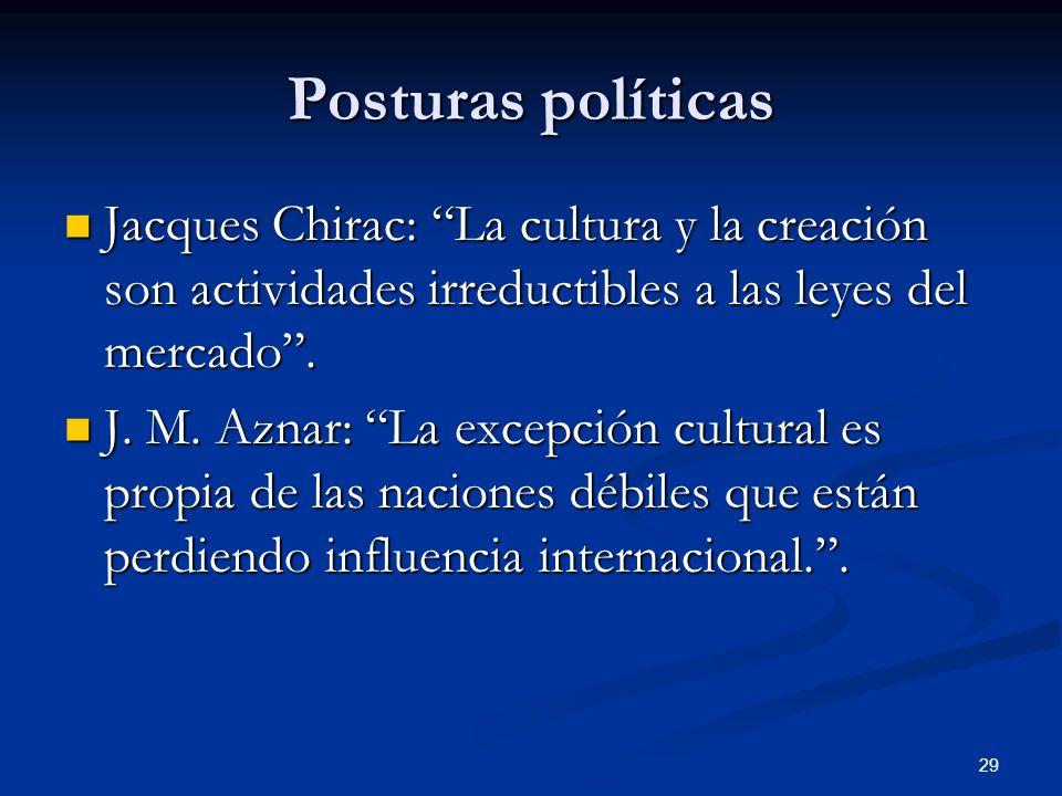 29 Posturas políticas Jacques Chirac: La cultura y la creación son actividades irreductibles a las leyes del mercado. Jacques Chirac: La cultura y la