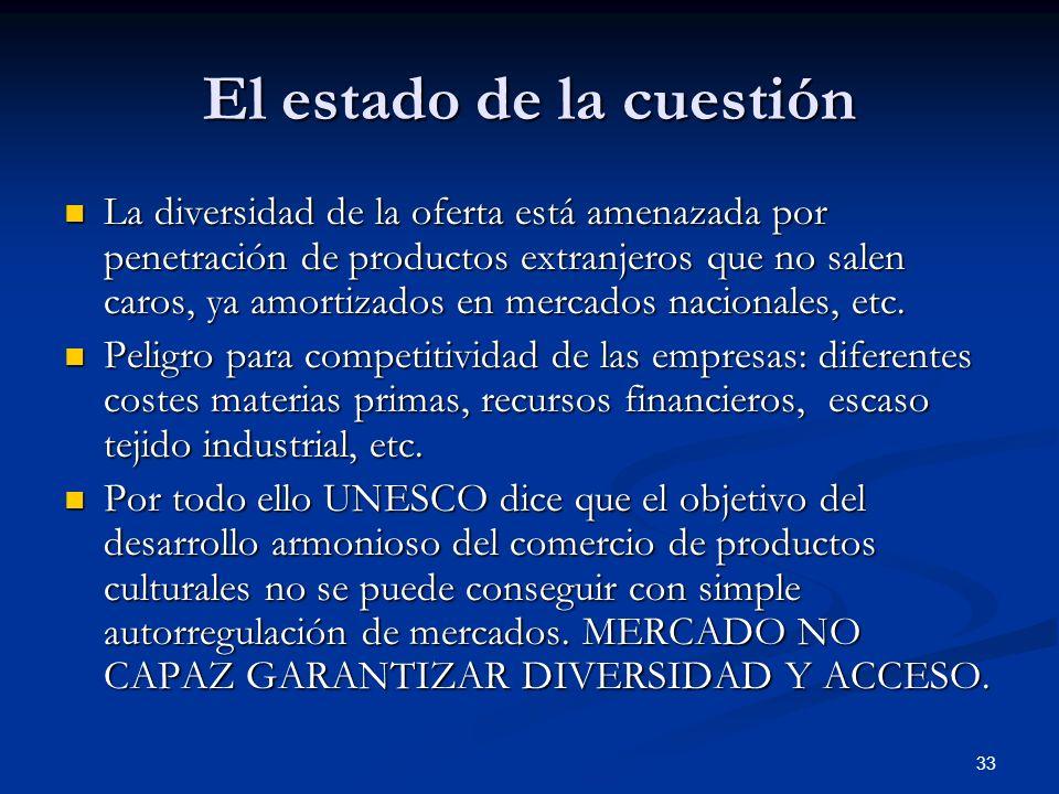 33 El estado de la cuestión La diversidad de la oferta está amenazada por penetración de productos extranjeros que no salen caros, ya amortizados en m