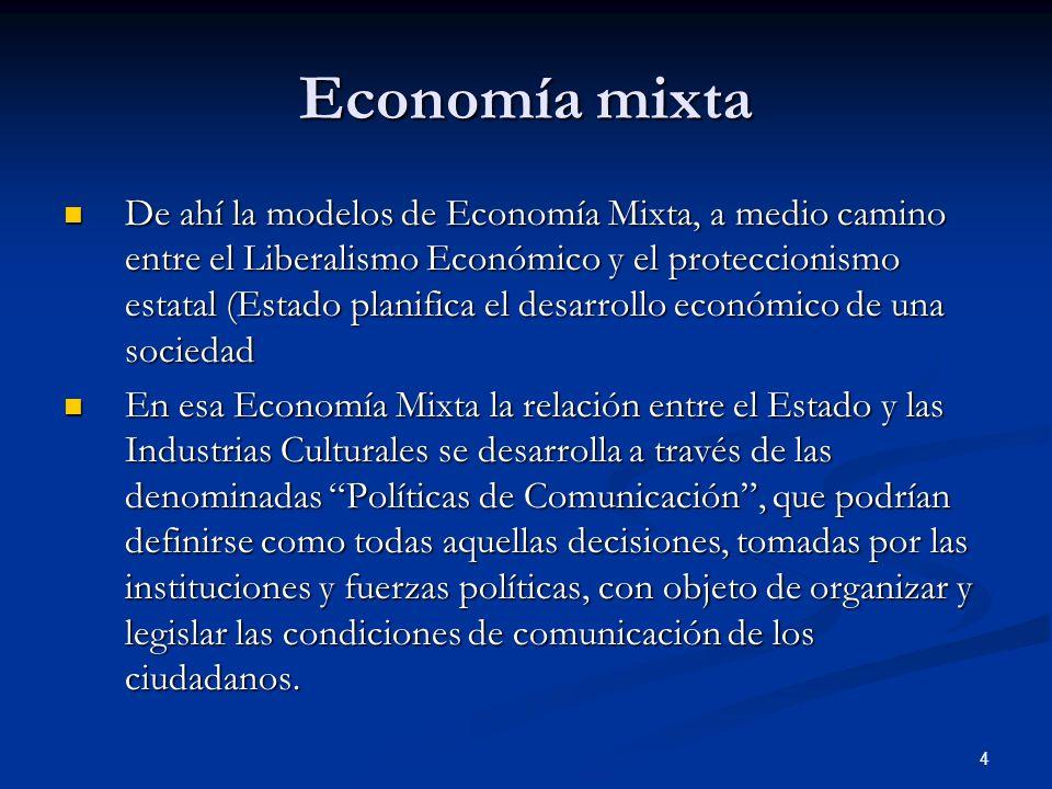 4 Economía mixta De ahí la modelos de Economía Mixta, a medio camino entre el Liberalismo Económico y el proteccionismo estatal (Estado planifica el d