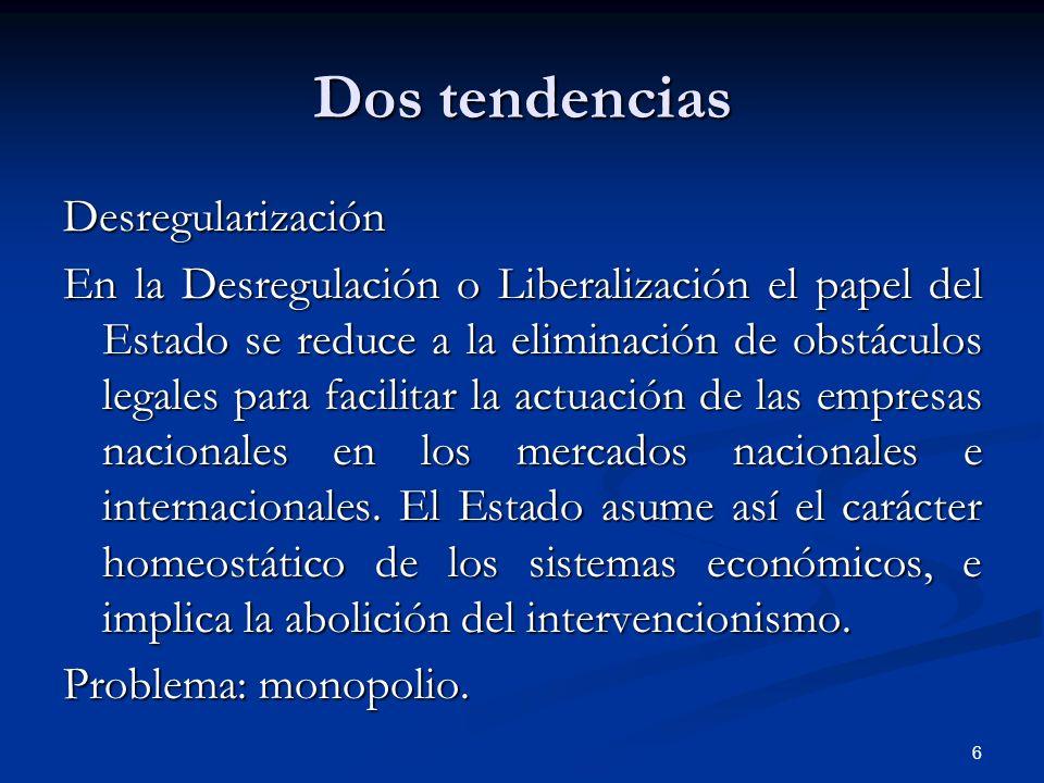 6 Dos tendencias Desregularización En la Desregulación o Liberalización el papel del Estado se reduce a la eliminación de obstáculos legales para faci