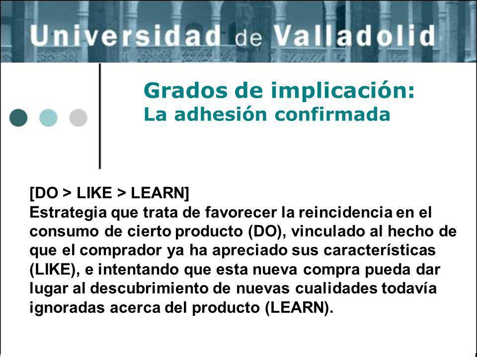 10 Grados de implicación: La adhesión confirmada [DO > LIKE > LEARN] Estrategia que trata de favorecer la reincidencia en el consumo de cierto product