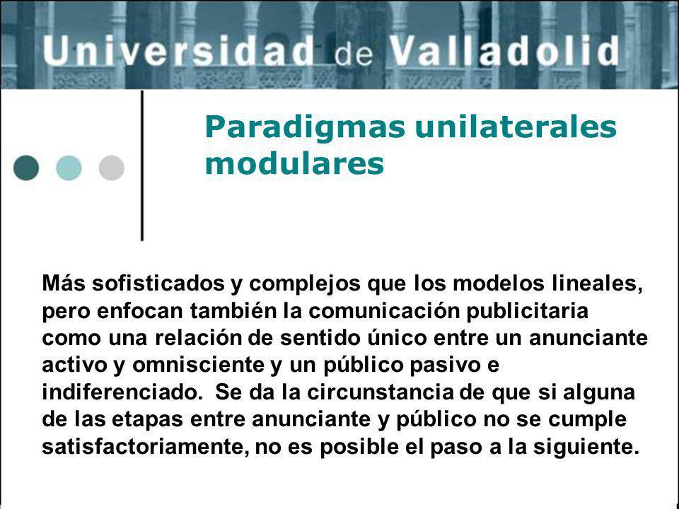2 Paradigmas unilaterales modulares Más sofisticados y complejos que los modelos lineales, pero enfocan también la comunicación publicitaria como una
