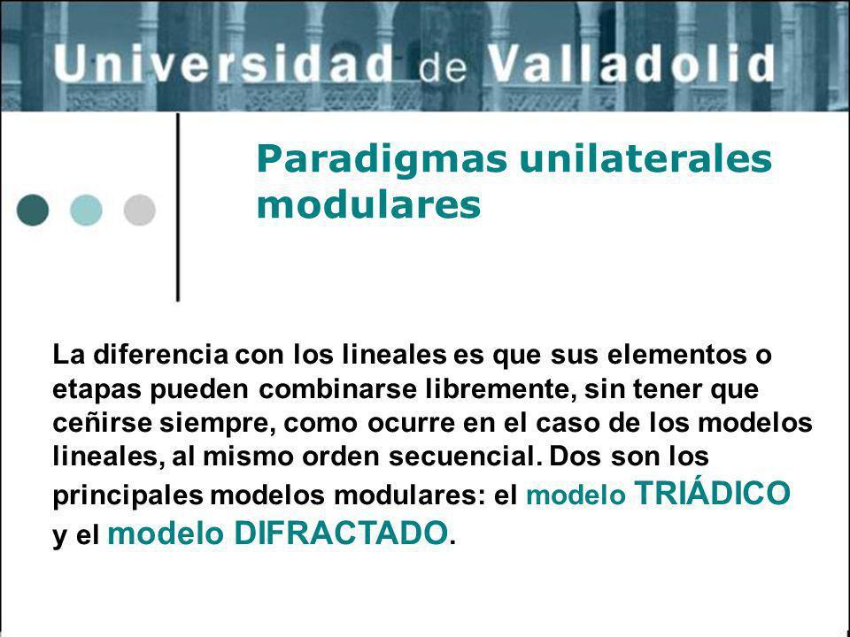 3 Paradigmas unilaterales modulares La diferencia con los lineales es que sus elementos o etapas pueden combinarse libremente, sin tener que ceñirse s