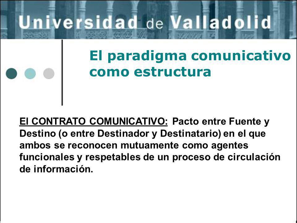 31 El paradigma comunicativo como estructura El CONTRATO COMUNICATIVO: Pacto entre Fuente y Destino (o entre Destinador y Destinatario) en el que ambo