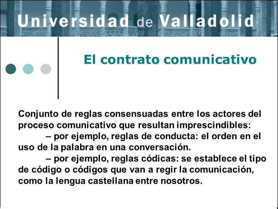 32 El contrato comunicativo Conjunto de reglas consensuadas entre los actores del proceso comunicativo que resultan imprescindibles: – por ejemplo, re