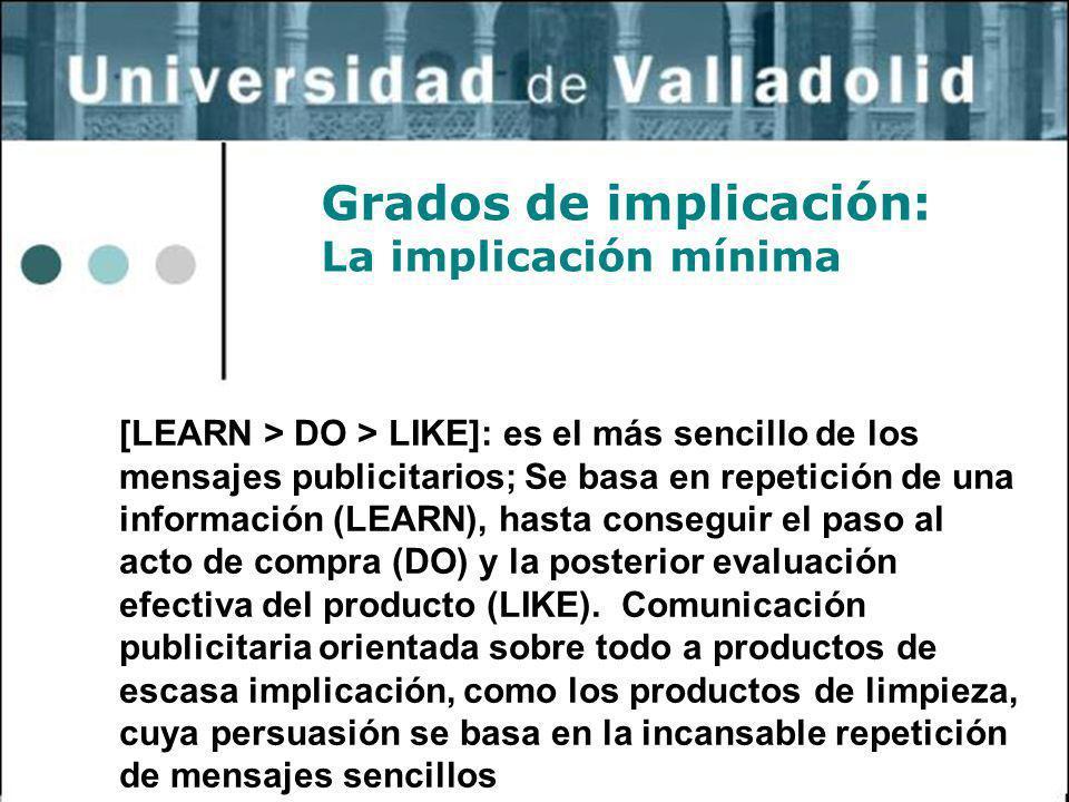 6 Grados de implicación: La implicación mínima [LEARN > DO > LIKE]: es el más sencillo de los mensajes publicitarios; Se basa en repetición de una inf