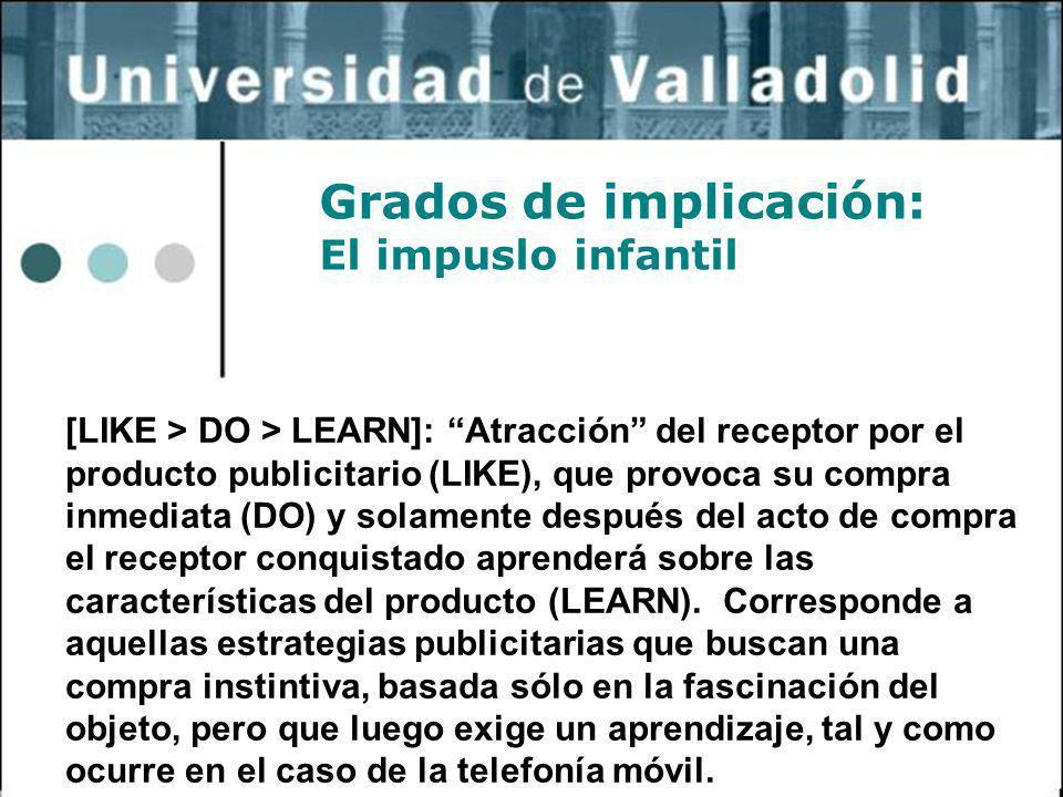 8 Grados de implicación: El impuslo infantil [LIKE > DO > LEARN]: Atracción del receptor por el producto publicitario (LIKE), que provoca su compra in