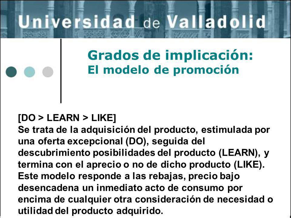 9 Grados de implicación: El modelo de promoción [DO > LEARN > LIKE] Se trata de la adquisición del producto, estimulada por una oferta excepcional (DO