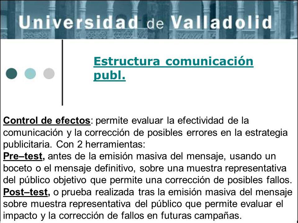 11 Estructura comunicación publ. Control de efectos: permite evaluar la efectividad de la comunicación y la corrección de posibles errores en la estra