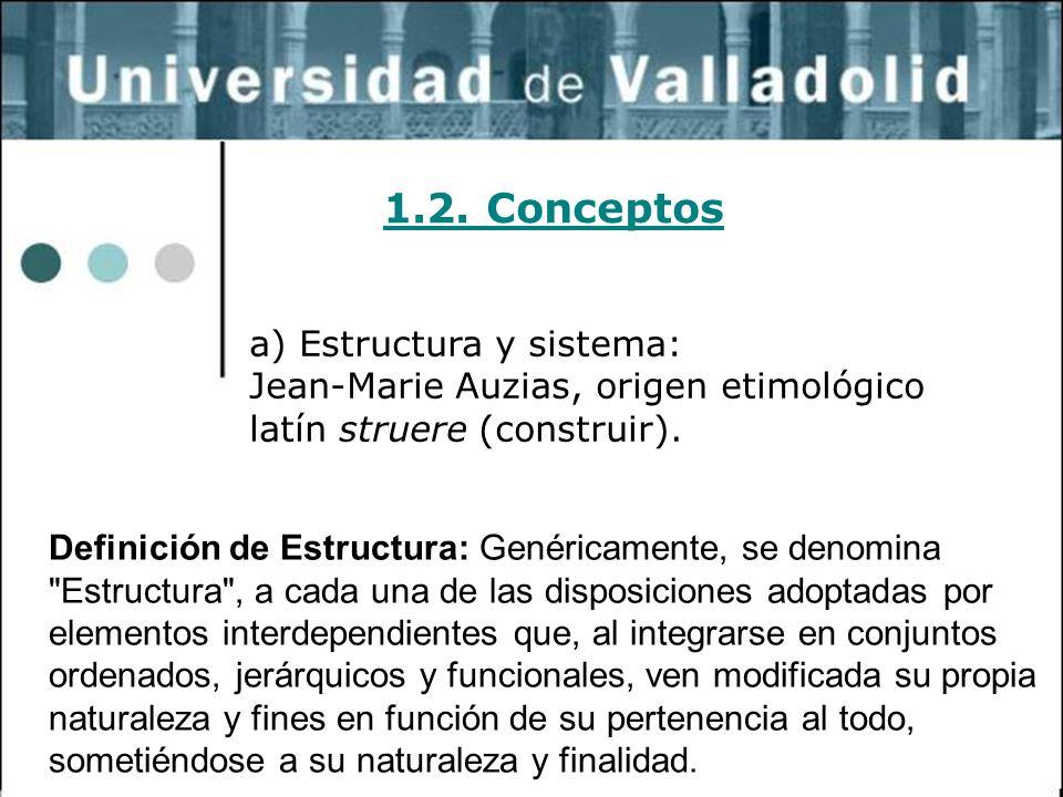 12 1.2. Conceptos a) Estructura y sistema: Jean-Marie Auzias, origen etimológico latín struere (construir). Definición de Estructura: Genéricamente, s