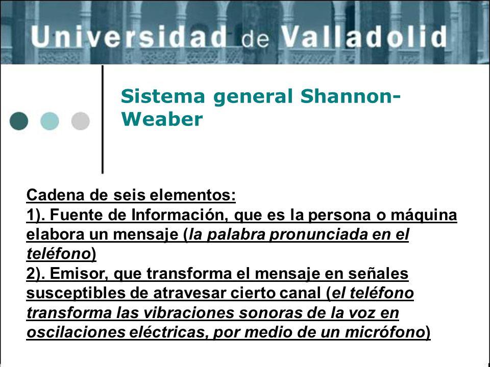 25 Sistema general Shannon- Weaber Cadena de seis elementos: 1). Fuente de Información, que es la persona o máquina elabora un mensaje (la palabra pro