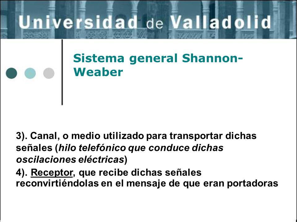 26 Sistema general Shannon- Weaber 3). Canal, o medio utilizado para transportar dichas señales (hilo telefónico que conduce dichas oscilaciones eléct