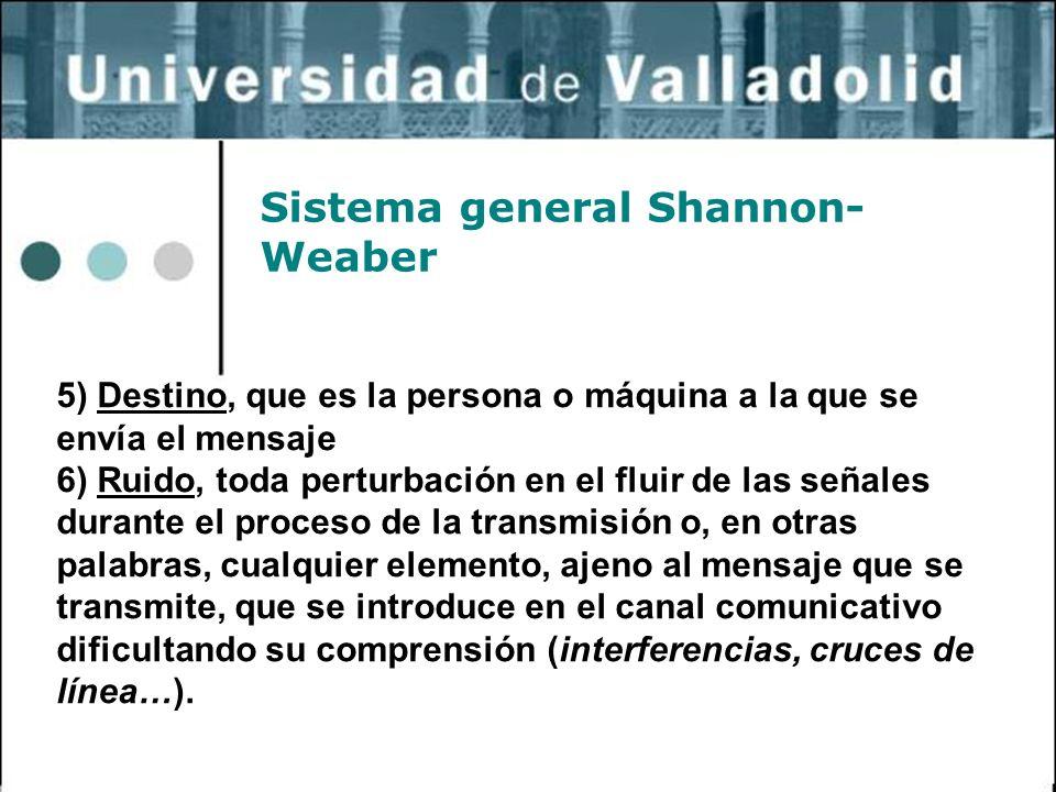 27 Sistema general Shannon- Weaber 5) Destino, que es la persona o máquina a la que se envía el mensaje 6) Ruido, toda perturbación en el fluir de las