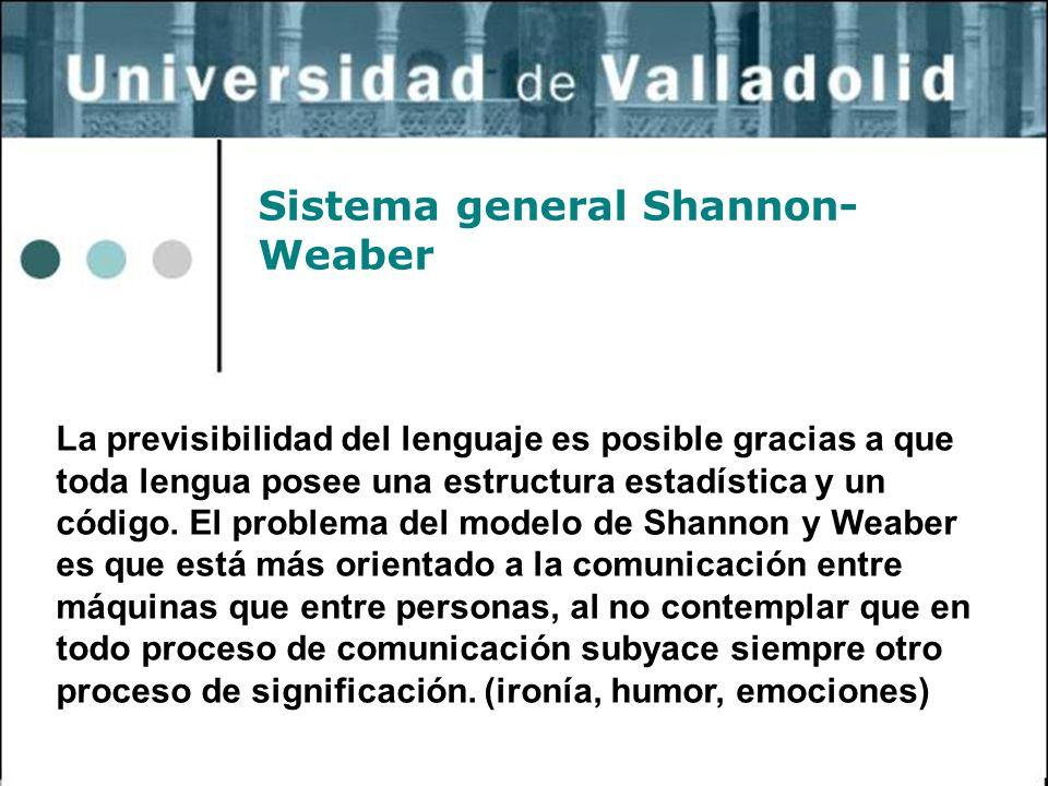 30 Sistema general Shannon- Weaber La previsibilidad del lenguaje es posible gracias a que toda lengua posee una estructura estadística y un código. E