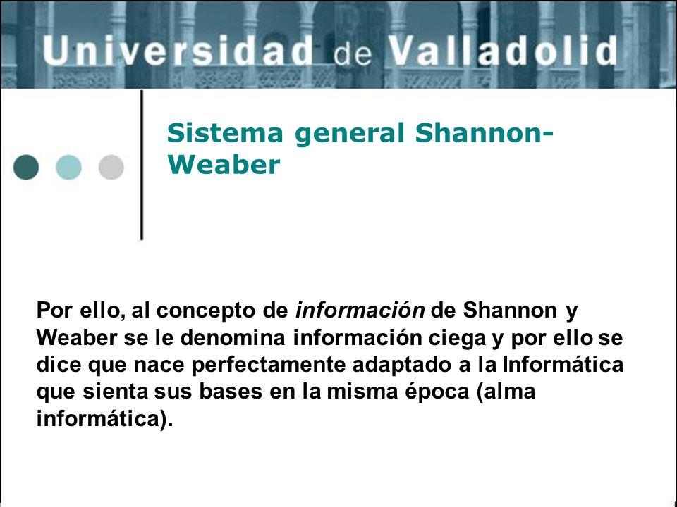 31 Sistema general Shannon- Weaber Por ello, al concepto de información de Shannon y Weaber se le denomina información ciega y por ello se dice que na