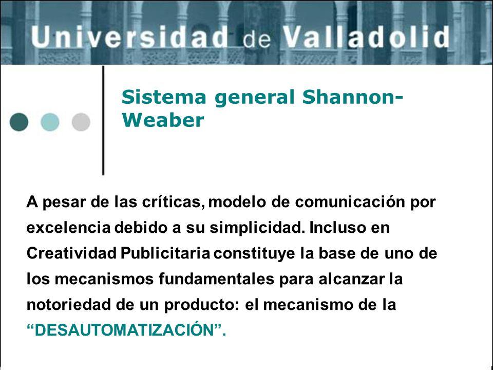 32 Sistema general Shannon- Weaber A pesar de las críticas, modelo de comunicación por excelencia debido a su simplicidad. Incluso en Creatividad Publ