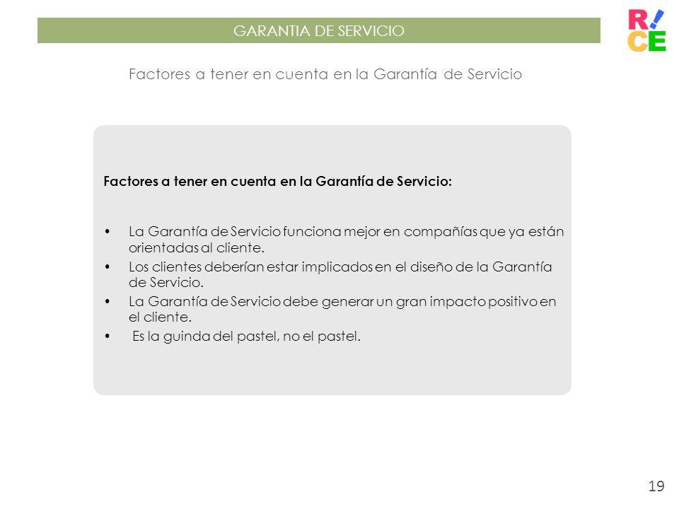 GARANTIA DE SERVICIO Factores a tener en cuenta en la Garantía de Servicio Factores a tener en cuenta en la Garantía de Servicio: La Garantía de Servi
