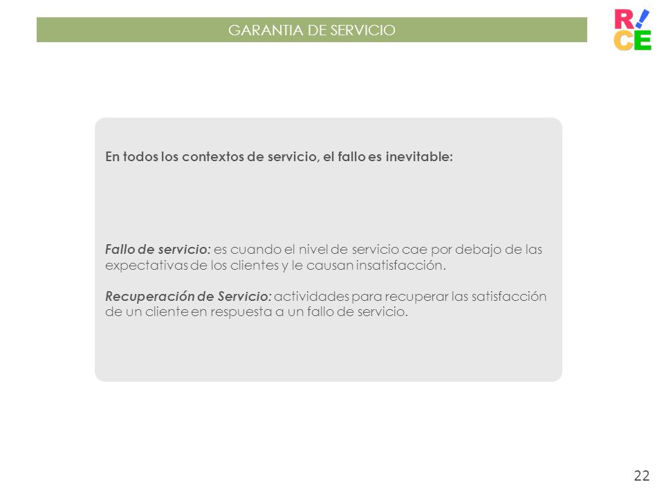 GARANTIA DE SERVICIO En todos los contextos de servicio, el fallo es inevitable: Fallo de servicio: es cuando el nivel de servicio cae por debajo de l