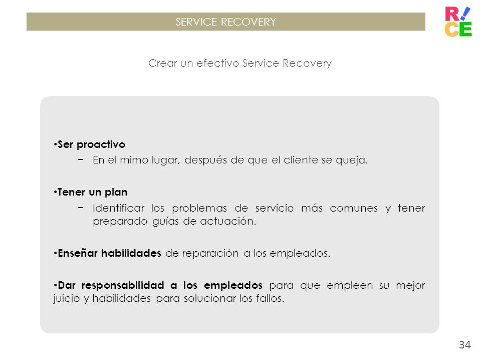 SERVICE RECOVERY Crear un efectivo Service Recovery Ser proactivo En el mimo lugar, después de que el cliente se queja. Tener un plan Identificar los