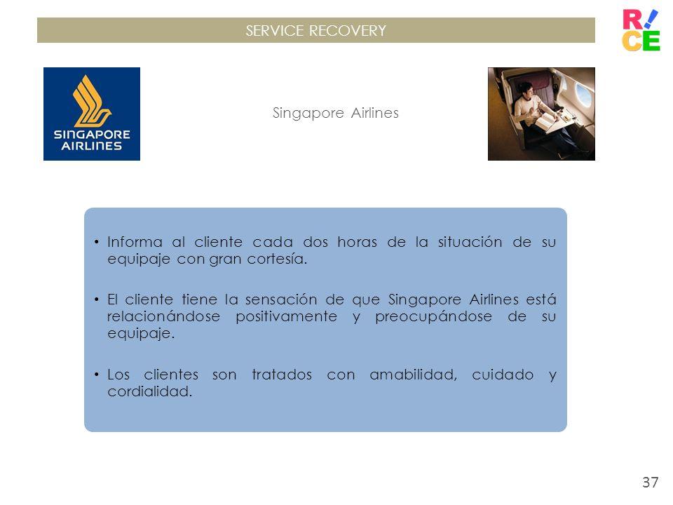 SERVICE RECOVERY Singapore Airlines Informa al cliente cada dos horas de la situación de su equipaje con gran cortesía. El cliente tiene la sensación