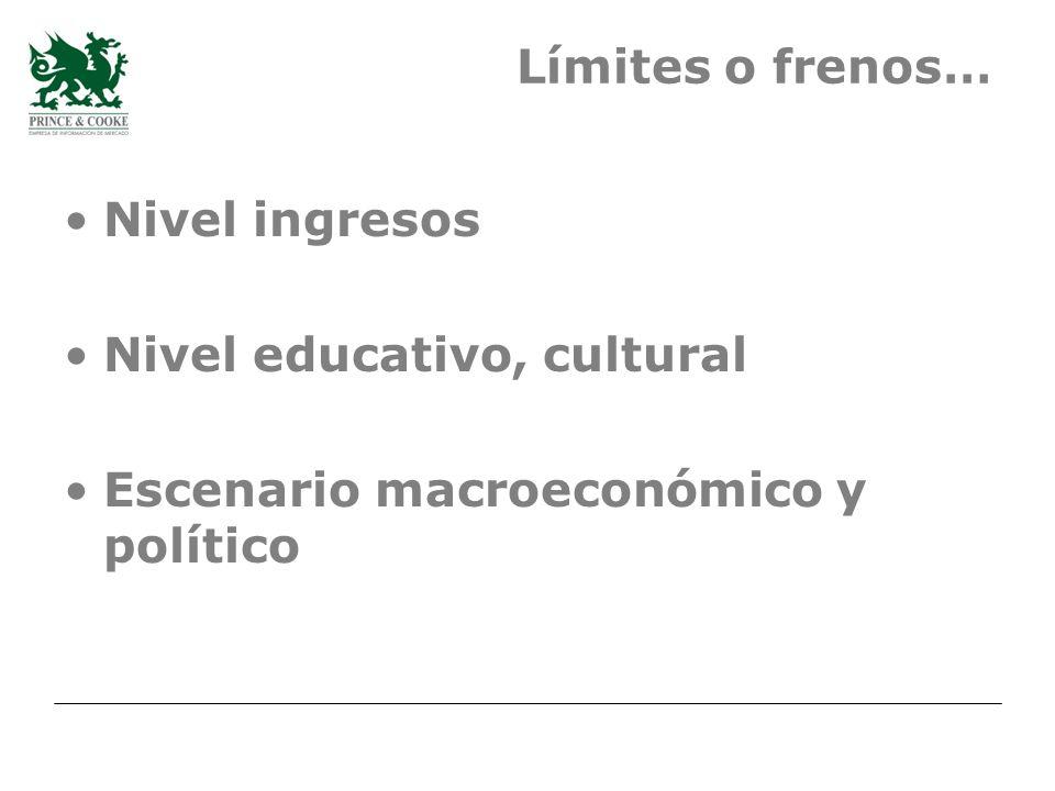 Límites o frenos… Nivel ingresos Nivel educativo, cultural Escenario macroeconómico y político