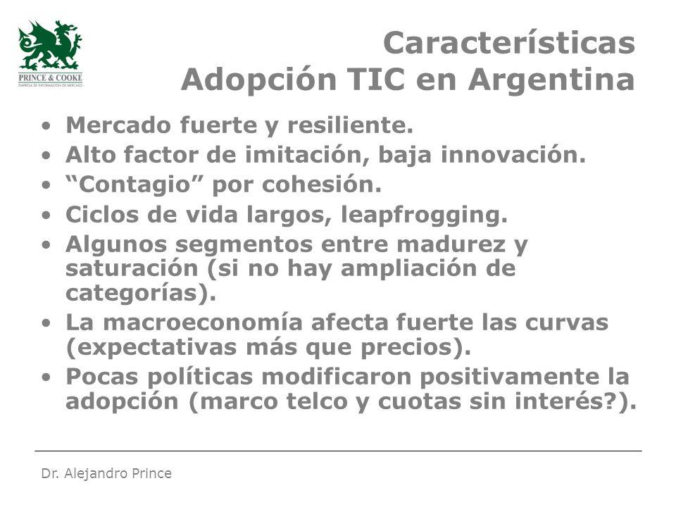 Dr. Alejandro Prince Características Adopción TIC en Argentina Mercado fuerte y resiliente.