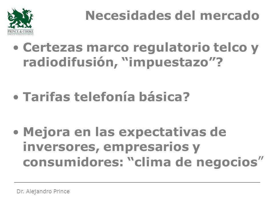 Dr. Alejandro Prince Necesidades del mercado Certezas marco regulatorio telco y radiodifusión, impuestazo? Tarifas telefonía básica? Mejora en las exp