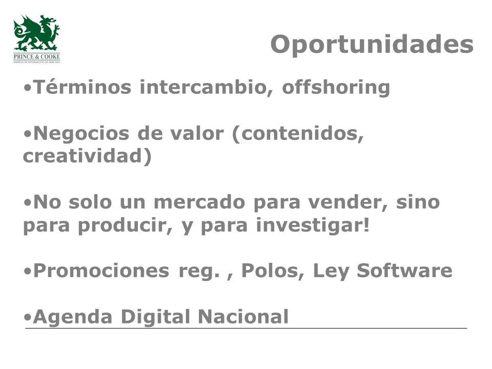 Oportunidades Términos intercambio, offshoring Negocios de valor (contenidos, creatividad) No solo un mercado para vender, sino para producir, y para investigar.