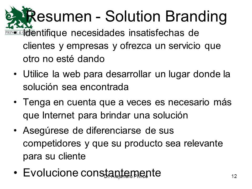 Dr. Alejandro Prince12 Resumen - Solution Branding Identifique necesidades insatisfechas de clientes y empresas y ofrezca un servicio que otro no esté